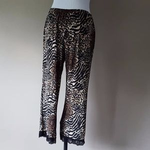 Wild Cat Pajama Pants Small Lace Trim Hems